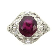 Vintage 3.01ct Ruby & 0.36ct Old Cut Diamond Hand Carved Platinum Ring Rami28-003