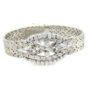 Fine 1.40ct FG/VS Diamond & 18K White Gold Florentine Finish Carved Bracelet WN41-003