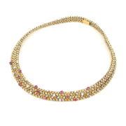 Vintage Tiffany & Co France Diamond & Ruby 18K White & Yellow Gold Necklace SM25-003
