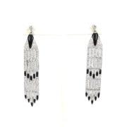 Vintage 3.50ct Old Diamond & Onyx 18K White Gold Long Drop Earrings SM24-004