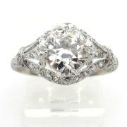 Vintage 1.36ct European Cut Diamond  Platinum Decorated Engagement Ring Rami28-004