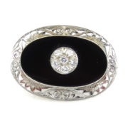 Vintage 0.75ct Diamond & Onyx 18K White Gold Hand Carved Pin Brooch WN42-004