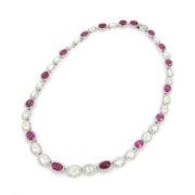 Rare 30.0ct Ruby & Pink Sapphire 25.0ct Diamond Platinum Necklace Certified SM25-004