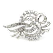 Vintage 10.0ct Fancy Cut Diamond & Platinum Ribbon Brooch Rami28-005