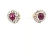 Vintage 9.0ct Diamond & 17.0ct Cabochon Cut Ruby 18K Yellow Gold Clip Earrings SM24-005