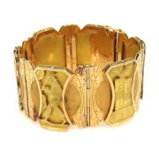 Vintage Peruvian Revival 18K Yellow & Green Gold Hand Carved Wide Bracelet WN41-006