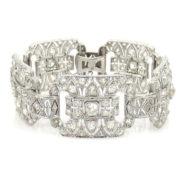 Vintage 12.50ct Old Mine Cut Diamond & Platinum Filigree Decorated Wide Bracelet SM24-007