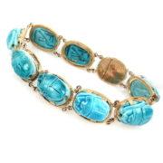 Fine Vintage Egyptian Blue Turquoise & 14K Yellow Gold Scarab Beetle Bracelet WN41-007