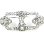 Antique 12.0ct Old & Fancy Cut Diamond & Platinum Decorated Brooch Rami28-008