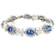 20.98ct No Heat Sapphire & 10.0ct Diamond 14K White Gold Bracelet WN41-008