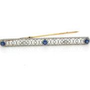 Antique Krementz 0.10ct Diamond & 0.39ct Sapphire Platinum & 18K Yellow Gold Bar Pin WN42-008
