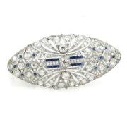 Vintage 6.60ct European Cut Diamonds & 0.56ct Sapphire 18K White Gold Oval Shape Brooch WN42-009