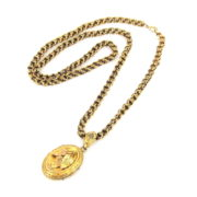 Antique 1800's 14K Yellow Gold Long Chain & Plated Leaf Locket Pendant WN41-009