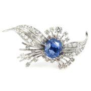 Vintage 8.0ct European Cut Diamond & 8.0ct No Heat Sapphire Platinum Brooch WN42-010