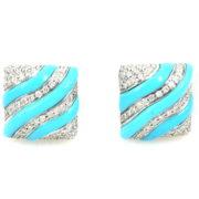 Fine Ambrosi 2.75ct Diamond & Turquoise 18K White Gold Cufflinks WN41-011