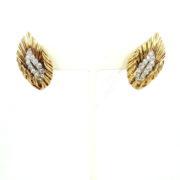 Fine Boucheron 1.0ct Diamond 18K White & Yellow Gold Leaf  Design Earrings WN41-012