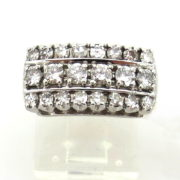 Vintage 1.0ct Old Cut Diamond 14K White & Yellow Cluster Ring Size 4.75  WN42-014