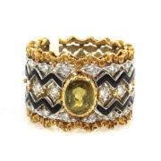 Vintage 0.70ct Peridot 0.60ct Diamond Enamel 18K Gold Hand Carved Band Size 5.25 WN42-015