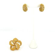 Vintage Hand Made Free Form 18K Yellow Gold Earrings & Flower Brooch Set  WN42-019