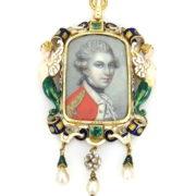 Victorian English Navy French Cut Diamond Emerald & Enamel 22K Gold Portrait Pendant WN41-020