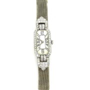 Rare 1925 2.0ct Old Cut Diamond Platinum & 18K Gold Mesh Lady's  Watch WN42-021