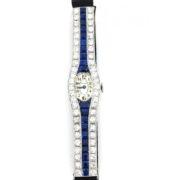 Art Deco Tiffany & Co 3.50ct European Cut Diamond 3.50ct Sapphire Platinum Watch WN42-022