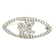 Antique 2.16ct Diamond Platinum Filigree Decorated Flower Pin Brooch WN41-026