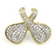Vintage 7.0ct Diamond 18K White & Yellow Gold Pave Pendant Brooch WN41-027
