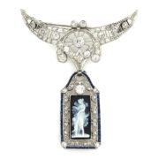 Antique 1.25ct European Cut Diamond & 0.60ct Sapphire Platinum & Gold Cameo Brooch WN41-028