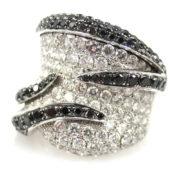 Vintage Italian 3.92ct White & Black Diamond 18K White Gold Ring  A&N 236-001