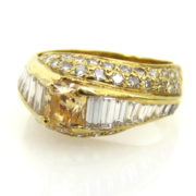 Diana Vincent 0.60ct Fancy Orange Yellow Diamond & 1.86ct White Diamond 18K Yellow Gold Ring A&N 236-002