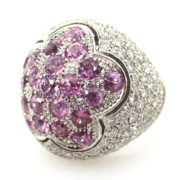 Estate Salavetti 5.0ct Diamond & 2.10ct Pink Sapphire 18K White Gold Flower Dome Ring Size 7.75 A&N 236-003