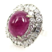 Estate 5.0ct Cabochon Ruby & 3.80ct Diamond 14K White Gold Cocktail Ring A&N 236-004