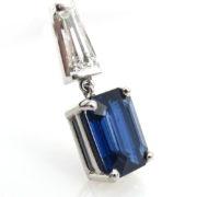 AGL Certified 2.86ct Emerald Cut Sapphire & 0.60ct Baguette Diamond 14K Gold Pendant A&N 236-006